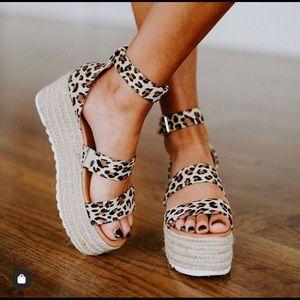 Leopard ankle wrap espadrilles! BRAND NEW